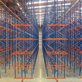 VNA Pallet Racking with P & D Stations for loading and unloading pallets at the end of each racking run