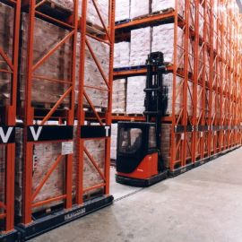 No special material handling equipment is required to operate within the movable racking.