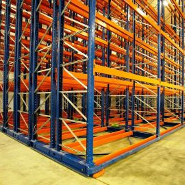 Conventional Pallet Racking located on heavy duty mobile bases