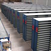 Heavy duty steel shelving for hand pick & pack operation