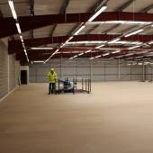 Completed mezzanine floor with Spiral Conveyor and roof lighting all Installed by Shelf Space