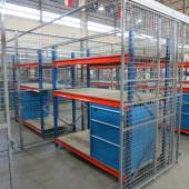 Mesh Secure Cages with storage using drawer cabinets and racking for the USA Airforce