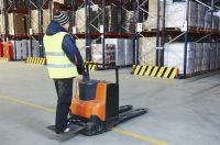 Pallet stacker truck at warehouse - istock 000059297956 medium
