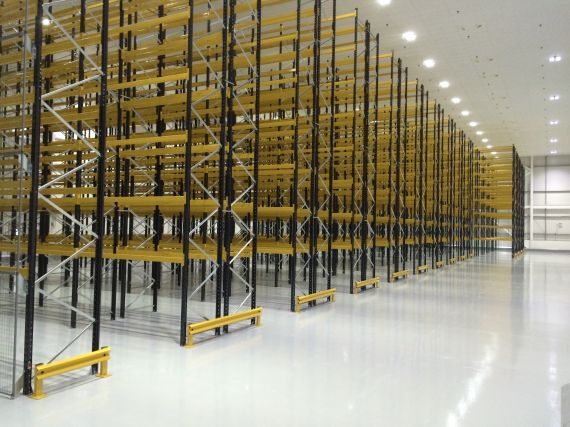 Very Narrow Aisle Pallet Racking working with a 'Wire Guided' Man-Up Truck completed by Shelf Space Limited Feb 2015