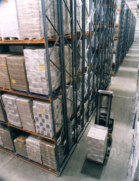 Powered Mobile Pallet Racking for high density storage - Up to 80% space Utilisation
