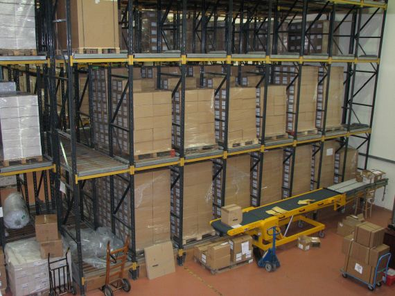 Pallet live pallet racking - First In-First Out (FI-FO)