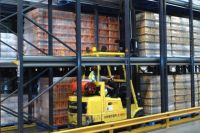 Forklift in drive in racking